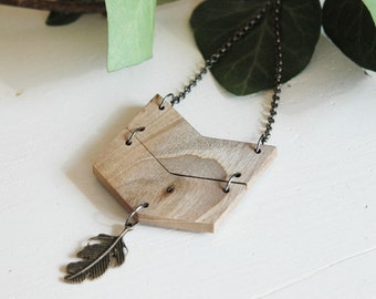 Long chevron necklace with feather,natural wood necklace ,made to order