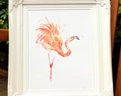 "Giclee Print: Pink Flamingo Series ""Feather Dance"" (Watercolour painting)"