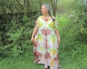 Long Tie-dyed Dress in Earth Mother Browns and Greens, Size 2XL
