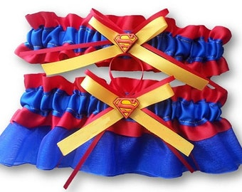 Superman garter set red blue and Yellow