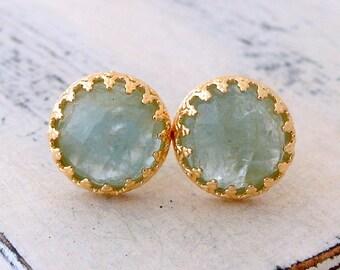 Aquamarine stud earrings, Aquamarine gemstone studs, Gold stud earrings, March birthstone earrings, vintage earrings, Bridesmaids gift