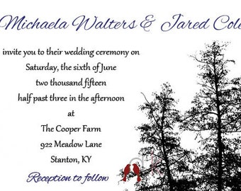 Printable Tree and Love Bird Themed Wedding Invitations