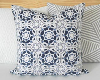 CLEARANCESALE Navy, gray, lilac and white geometric medallion decorative throw pillow cover