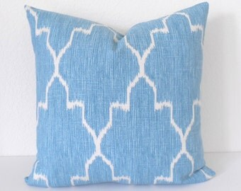 Both sides, Turquoise moroccan ikat decorative pillow cover, accent pillow, throw pillow