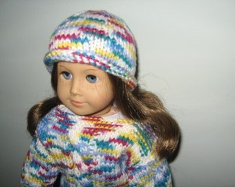"Hand-Knit Multi-Color Cable Sweater, Hat and Mittens for 18""  18 inch Dolls"