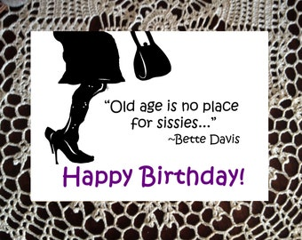 Sister Birthday Greeting Card Girlfriend Birthday gift Bette Davis purple Black gag funny