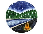 Campfire watercolor painting Starry night river and mountains illustration art