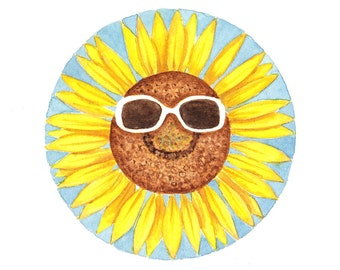 Original watercolor painting Sunflower with sunglasses
