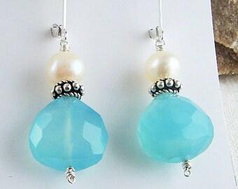 Aqua Chalcedony Earrings Gemstone Dangle Earrings Chalcedony Jewelry Freshwater Pearl Sterling Silver Bali Bead Drop Earrings Jewelry