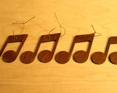 Handcrafted Music Note Wooden Tree Ornaments