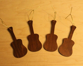 Handcrafted Acoustic Guitar Wooden Tree Ornaments