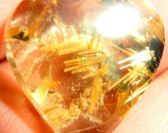 AAA Huge Rutilated Quartz  Designer cabochon, Buff top 69.54 ct Flashing golden rutile stars