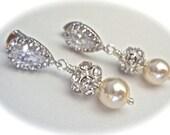 Pearl earrings ~ Swarovski pearls and crystal fireballs ~ Sterling posts ~  Brides earrings ~ Bridesmaids earrings ~ Wedding earrings ~Gift