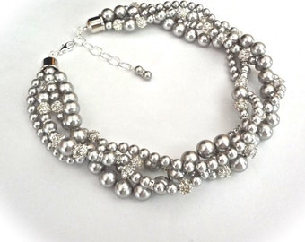 Chunky Gray pearl necklace ~ Swarovski crystals and pearl necklace ~ 4 strands ~ Twisted pearl necklace ~ Brides statement necklace ~AMAZING