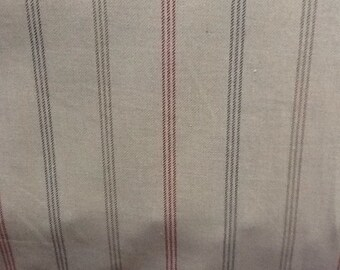 Waterford stripe in red/ rosso by the metre 100% cotton curtain fabric