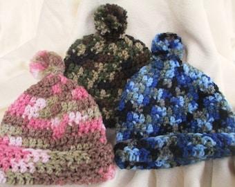 Crocheted Camo Hats