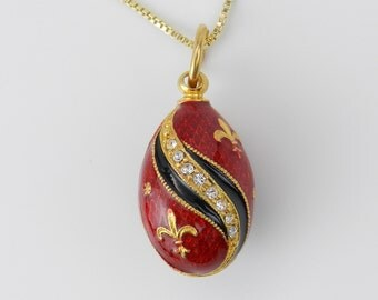 "18K Yellow Gold over Sterling Silver Red Enamel Fleur De Lis Swarovski Crystal Pendant with Chain 20"" Faberge Style Egg"