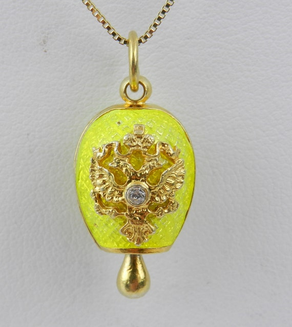 """Sterling Silver 18K Gold Plated Neon Yellow Enamel Swarovski Crystal Pendant with Chain 18"""" Faberge Style Egg"""
