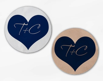 Initials in Heart Wedding Favor Stickers - Navy Blue Custom White Or Kraft Round Labels for Bag Seals, Envelopes, Mason Jars (2006)