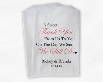 Sweet Thank You Anniversary Candy Buffet Treat Bags - Set of 25 Dusty Rose Pink Personalized Favor Bags - We Still Do (0166)