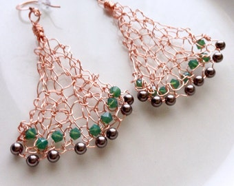 Copper Rose Gold Chandelier Earrings Knitted Wire Wrapped Pearl Green Crystal Earrings