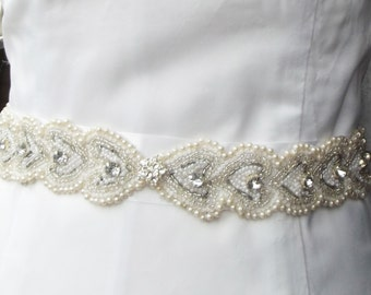 Bridal Sash  White Satin Ribbon With Pearl Beads and  Rhinestones, For Wedding or Special Occasions