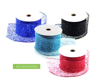 2.5 Inch Glitter Wired Ribbon Sparkle for Floral Arrangements DIY Craft Wedding Party Spider Web