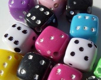 12mm, 10CT, Multi Colored Dice, Die Acrylic Beads, Mixed Colors ONLY!. S30