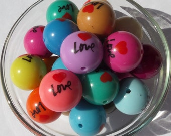20mm, 10CT, Love Chunky Mixed Color ONLY, Heart Print, H37