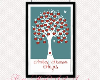 Modern Guestbook -  Modern Art - Apple Tree of Love - Any Color Scheme
