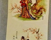 Beautiful - Vintage - Water Mount Decal - Oriental Asian Decor - Scene with Two Women Ladies - 2 Piece Set
