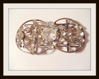Czechoslovakian Dainty Crystal  Belt Buckle