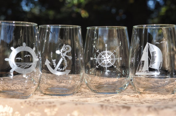 Nautical Stemless Wine Glasses - Set of 4