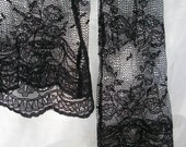 Gypsy Bohemian Style Over Shirt ~ Vintage All Black Lace ~ Hippie Chic ~ Long Sleeve ~ Sheer with Flowers