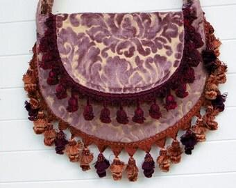 Victorian Bag Purse Handbag Lilac Cut Velvet with Fringe