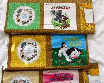 Little Golden Books cloth book panels Saggy Baggy Elephant, Shy Little Kitten, Poky Little Puppy, Tawny Scrawny Lion