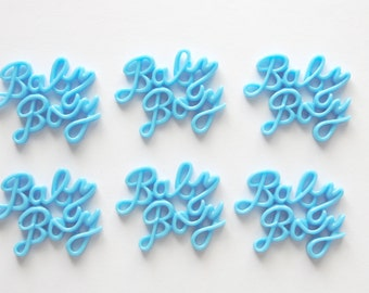 Blue Baby Boy Resin Flatback for Scrapbooking Card Making and General Crafts Set of 6