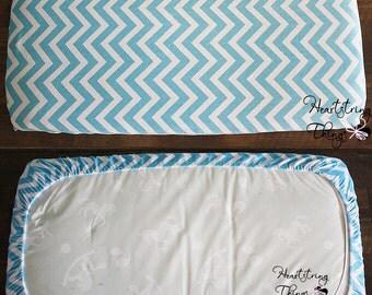 READY TO SHIP Crib sheet, Minky Sheet, mattress, Nursery babies room, soft sheet, chevron minky, Aqua and white, unisex bedding, baby sheets