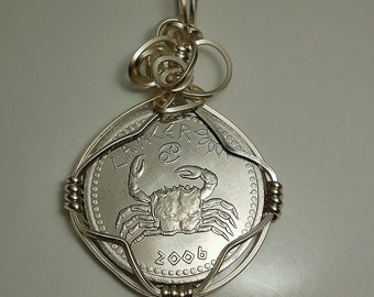 Cancer Zodiac Coin Pendant