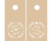 Wedding Cornhole Decals   Personalized Laurel Wreath & Arrow Vinyl Decal Set for Cornhole Game Boards