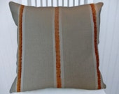 Beige Orange Decorative Pillow Cover-- Orange Chenille Stripe   18x18 or 20x20 or 22x22  Throw Pillow- Accent Pillow Cover