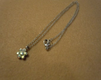 Sweet 15 inches silver necklace with crystal flower pendant
