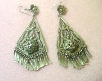 Vintage Silver Filigree Chandelier Earrings - No. 1435