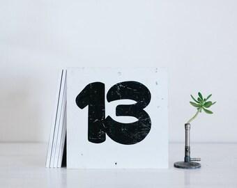vintage metal number sign - thirteen