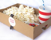 FooD TRaY with DRinK HoLDERS--set of 10-Brown Kraft-MoViE NIght--Parties--Superbowl-PicNics--add labels,ribbon