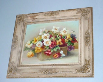 Antique Victorian Frame Pansy Oil Painting Chic Cottage Decor HUGE