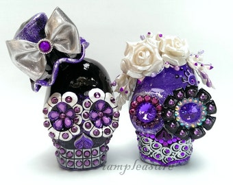 Skull purple and black weddings cake topper handmade bride and groom