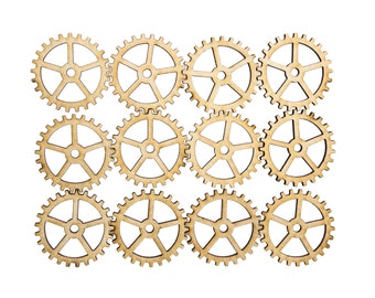 Plywood SteamPunk Gears, Craft Gears, Cheap Wood Gears, Laser Cut - 12qty - 1.5 Inch (38.1mm) - BASIC -