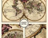 Vintage World Map - Retro style wall map by Chez Guillaume Delisle Large Fine Art archival print - 008