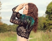 Teal and black feather shoulder epaulette, feather wings, feather shoulder pieces